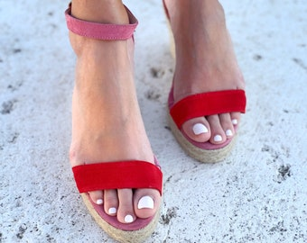 Two Tone Sandals in espadrilles wedges. Red and Pink Suede Shoes