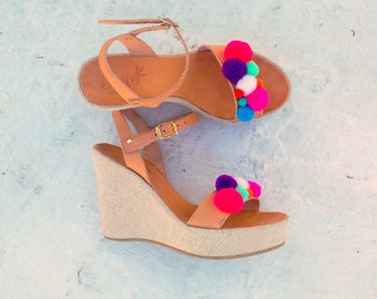 platform pom pom/leather /high heel platform with pom pom /linen platform/woman shoes /woman sandals/pom pom high heel