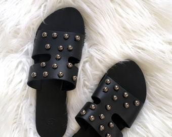 Black Women Slides Sandals With Studs . Handmade Greek Sandals