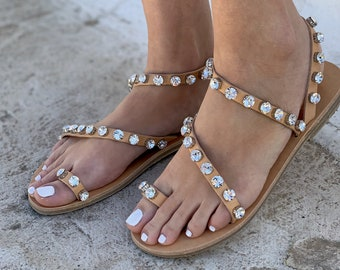 Bridal Sandals with Shinestone ,wedding flats handmade leather sandals elegant and unique. Free Shipping