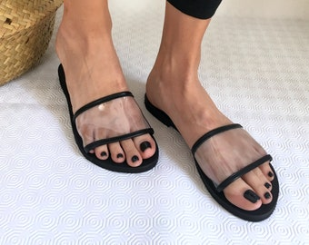 Woman Sandals Transparent Leather Flat