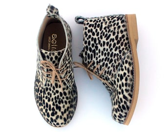 Kids Ankle Boots Animal Print Black and White