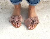 woman sandals , bow sandals, aelia greek sandals, slides,leather sandals , beige leather , knot sandals