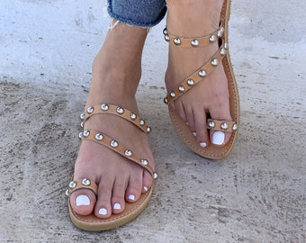 Toe Ring Sandals with studs handmade in Greece , Slides women sandals
