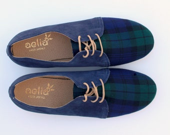 Woman Oxfords Shoes  Handmade With Checked Wool and Suede Leather