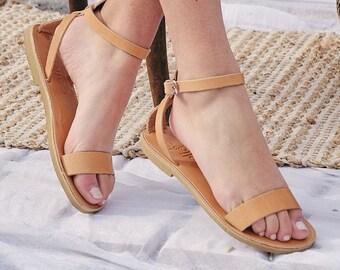Greek Leather Sandals Women's  Ankle Strap Sandals,  handmade elegant flat  sandals