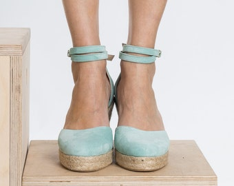 Aria Espadrilles Mint Suede Leather Handmade In Greece by Aelia