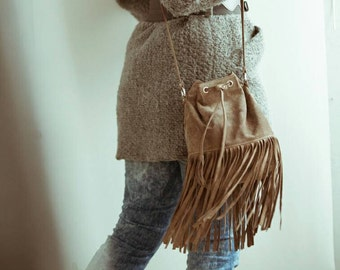 Boho shuede leather/Elephant grey leather/black leather/crossbody bag/fringe