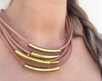 Leather and metal handmade necklace /natural color and bronze /made in Greece /