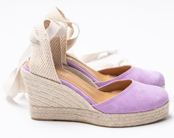 Espadrilles Lilac Shoes , Suede wedge lilac espadrilles handmade in Greece .