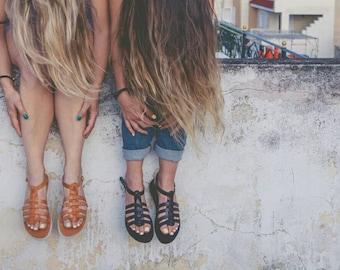 on sale Aelia sandals gladietor black leather genuine leather gladietor sandals Greek sandals leather sandals