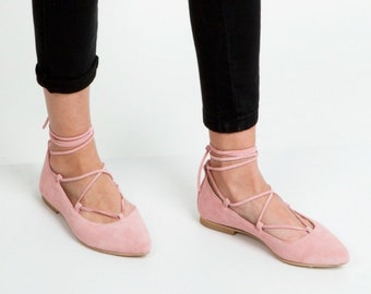 Lace up  Pointed toe women shoes / flats in  baby pink color handmad