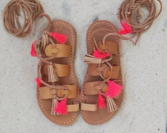 Greek sandals,Gladiator sandals,Lace up sandals,Tie up sandals,leather.handmade,Pom Pom, tassel coral,baby sandals,little girl sandals