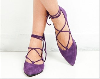 Woman leather shoes handmade shoes flats shoes Lace up Pointed toe flats purple suede greek desinger handmade flat shoes