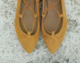 handmade Pointed toe lace up flats with orange suede leather