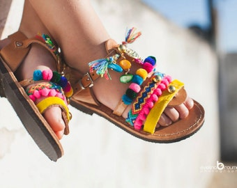 gladietor boho sandals/pom pom sandals/little girl/leather/pony skin/friendship bracelets/Lida gladietor collection