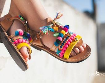 gladietor boho sandals/pom pom sandals/little girl/leather/pony skin/friendship bracelets/Lida gladietor collection