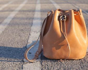 Shoulder large leather bucket bag  cross body handmade by aelia in natural or  black .Ready to ship