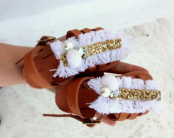 baby sandals /baptism shoes girl/white/ leather sandals /pom pom /braidmaids shoe girls /gift for girl/ baby shower gift