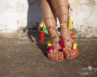 """ira sandals "" Lace up with and handmade Pom Pom and friendship bracelets"