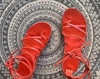 Hot Red Corina Lace Up Sandals. Made to order.