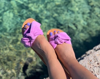 Lilac Bow Leather Greek Sandals