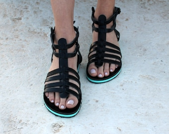 Black Gladiator / Platform Blue /Strap Sandals/Greek Sandals/Aelia Greek Sandals/Handmade Shoes
