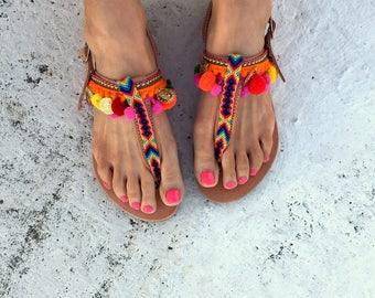 pom pom t-straps sandals