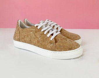 Vegan Cork Sneakers with Gold flakes , Handmade