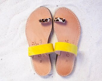 aelia greek sandals / aristocratic/yellow and animal print haircalf