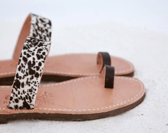 aelia greek sandals/aristocratic collection/black and white haircalf/pony skin/ancient sandals handmade