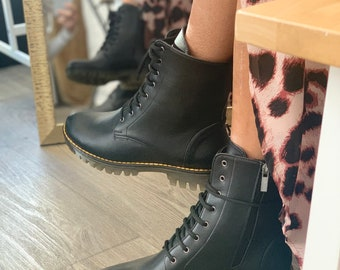 Women Army Boots in Black  , Vegan Black Leather Handmade boots , Custom made boots