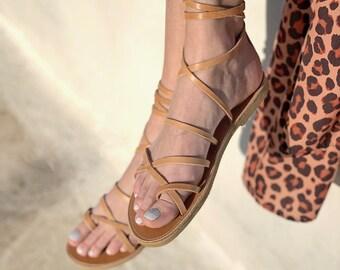 Ankle Wrap Up Leather Women Sandals. Boho Gladietor Sandals ,Bohemian Chic Sandals . Tan color