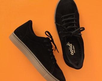 Black Sneakers , handmade suede leather ties shoes