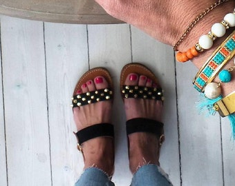 ]apostasy sandals black and gold studs