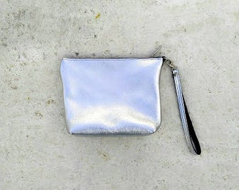 Metallic Silver  Leather Cosmetic Bag .Small Leather Pouch Small Leather Clutch