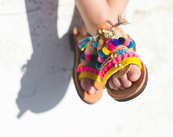 gladiator boho sandals/pom pom sandals/baby girl/leather/pony skin/friendship bracelets/Lida gladiator collection