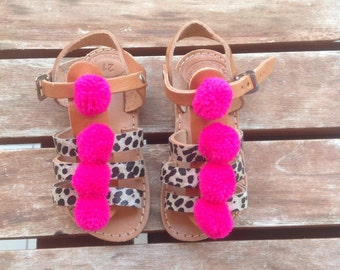 Artemis leather Gladietor / boho style /Greek sandals / animal print / baby girl / Pom Pom / little girl / shoes