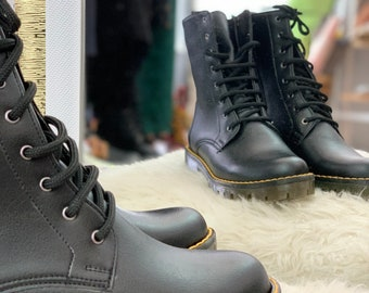 Vegan Leather Combat Boots for Woman in Black