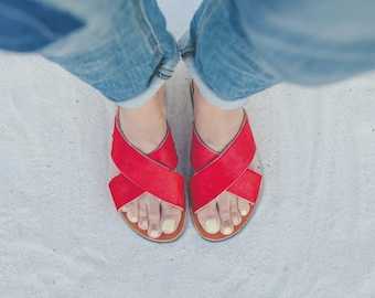 Aelia/sandals/criss cross/ red  pony skin/red suede leather/silver/ handmade greek sandals