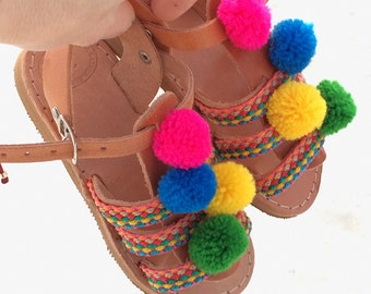 girl gladietor with pom pom and multicolor straps/handmade leather sandals/baby gift/greek sandals/boho sandals/boho gladietor/baby girl gif