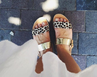aelia greek sandals /apostasy collection/animal print and gold/ black and wite with black suede