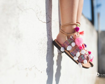 "little girl lace up /tie up gladietor sandals/aelia greek sandals/boho /pom pom sandals /""Anastasia white"""