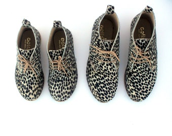 Leopard  black and white booties for woman handmade leather winter shoes