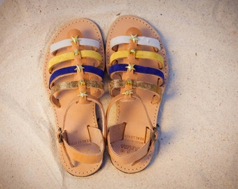 Aura gladietor/ blue gold yellow / gold studs / aelia greek sandals/ handmade
