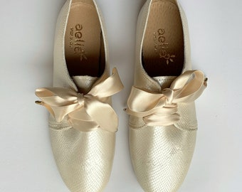 Women Wedding Oxford Ivory Leather Shoes ,Free Shipping