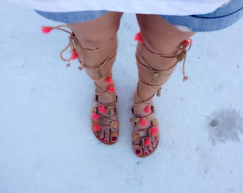 Greek sandals,Gladiator sandals,Lace up sandals,Tie up sandals,leather.handmade,,toe ring ,Pom Pom, tassel coral,woman's sandals