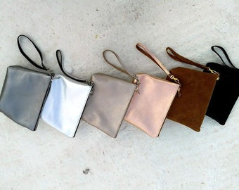 leather purce/leather clutch/leather pouch/small leather bag/bridesmaid gift/cosmetic bag/ grey silver /silver/black/ perla/pink gold/brown/