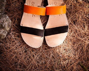 aelia apostasy sandals/handmade two straps greek sandals/orange pony skin and black leather/flats sandals Burnt orange