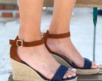 "Espadrilles Sandals Denim and Camel Suede Leather. ""Lola"" two tone sandals wedge"